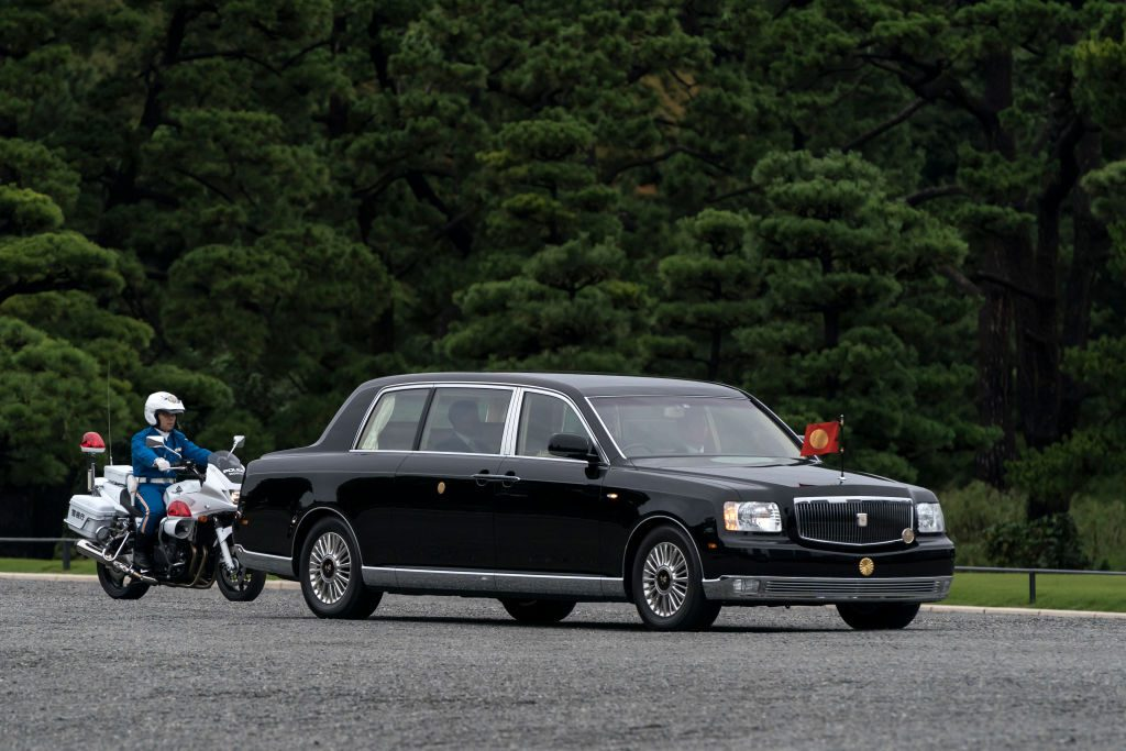 A Toyota Motor Corp. Century Royal carrying Japan's Emperor Naruhito leaves the Imperial Palace on October 22, 2019