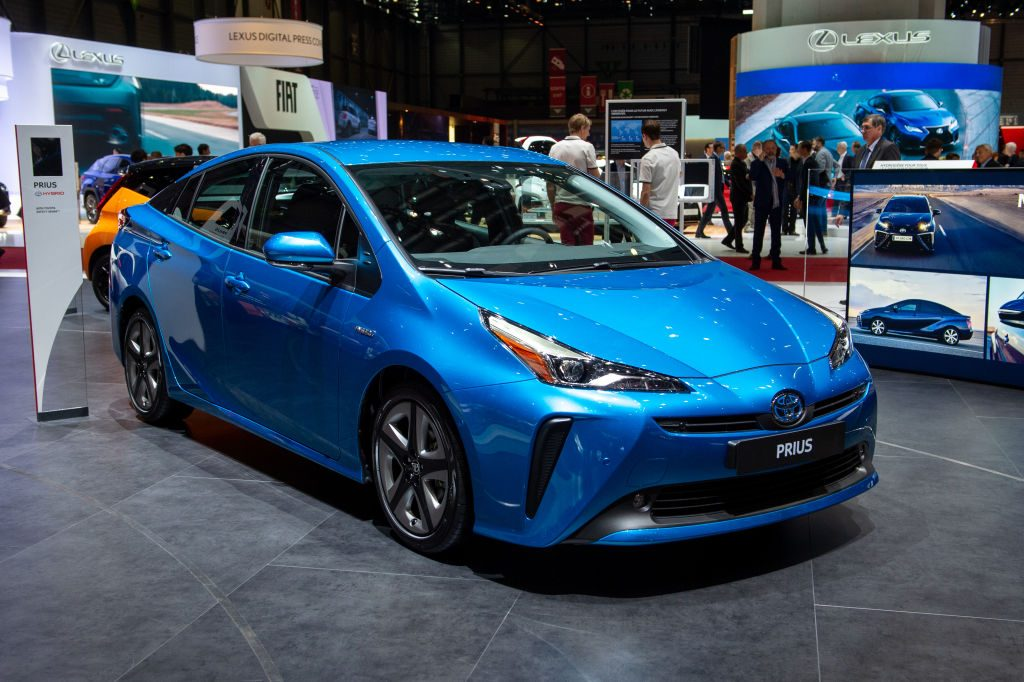 Toyota Prius is displayed during the first press day at the 89th Geneva International Motor Show