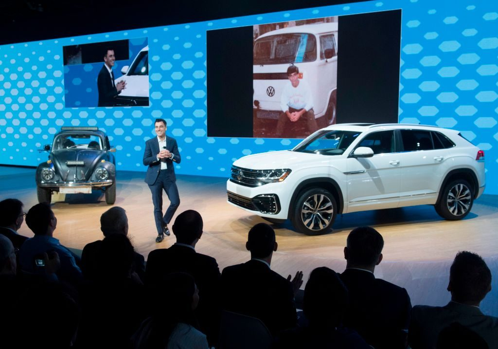 The Volkswagen Atlas Cross Sport car on display at the 2019 Los Angeles Auto Show