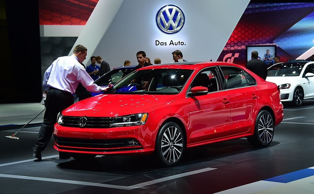 Volkswagen's 2015 Jetta TDI is cleaned while on display at the LA Auto Show's press and trade day in Los Angeles, California