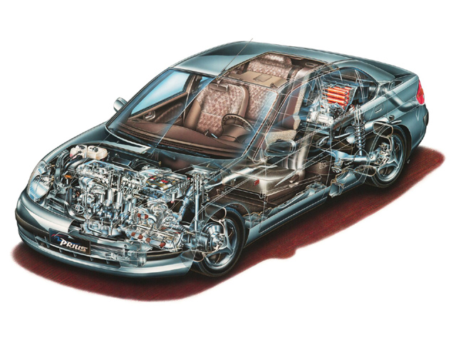 a cutaway of a toyota prius