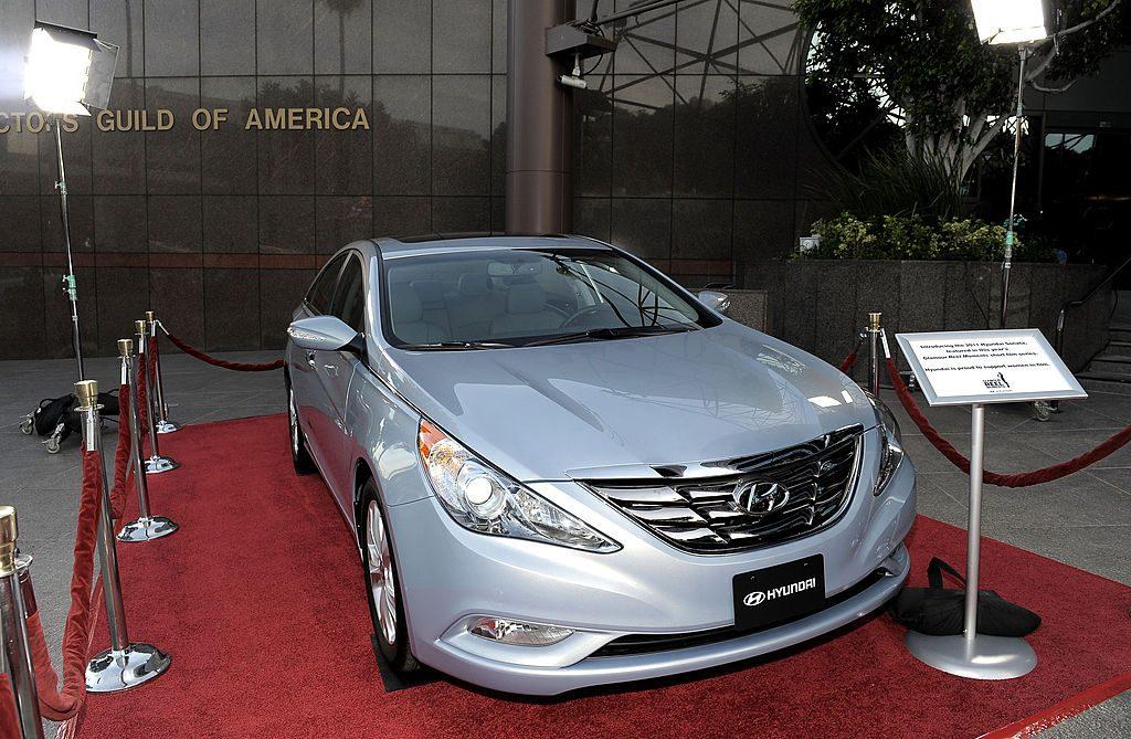 A 2011 Hyundai Sonata on display at an auto show