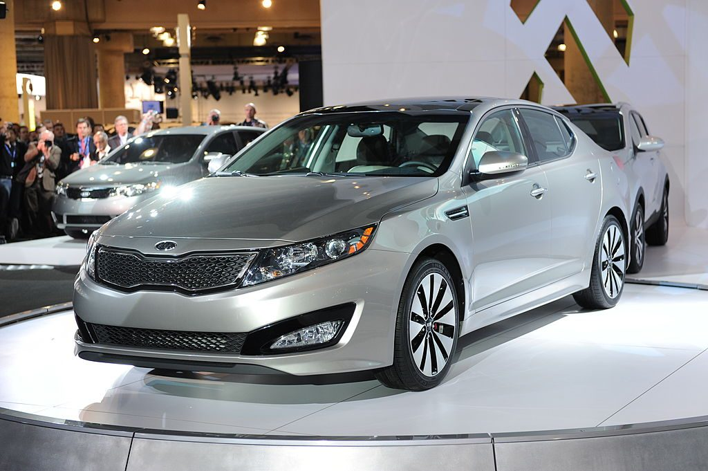 The new Kia Optima is unveiled on April 1, 2010 at the New York Auto Show in New York