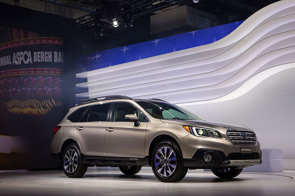 A 2015 Subaru Outback on display