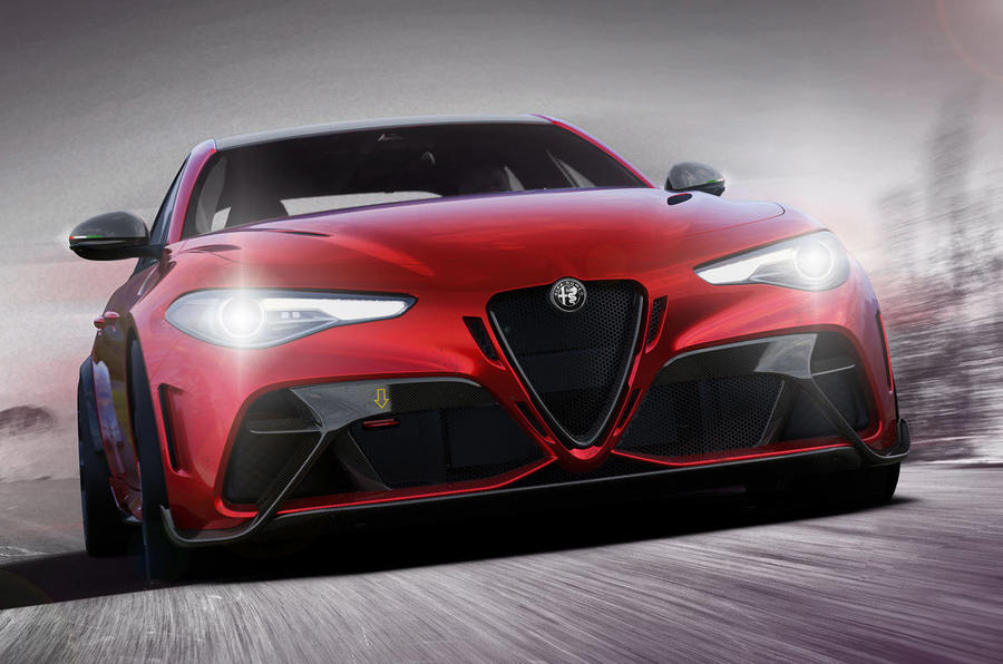 the black accented red grille of an Alfa Romeo Giulia
