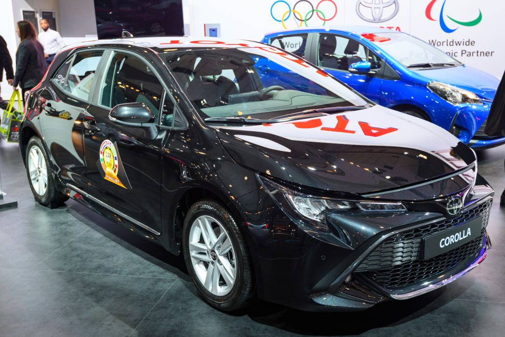 Toyota Corolla compact hatchback car on display at Brussels Expo