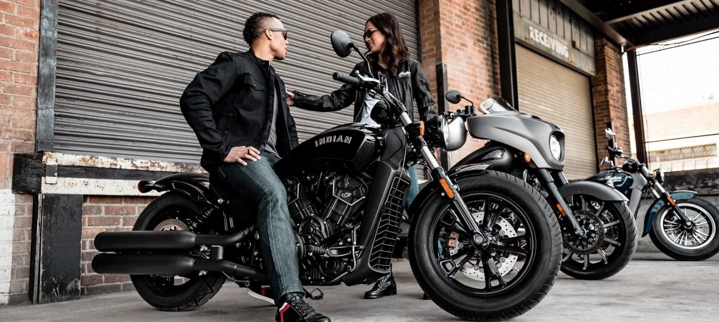 2020 Indian Scout Sixty Bobber with rider