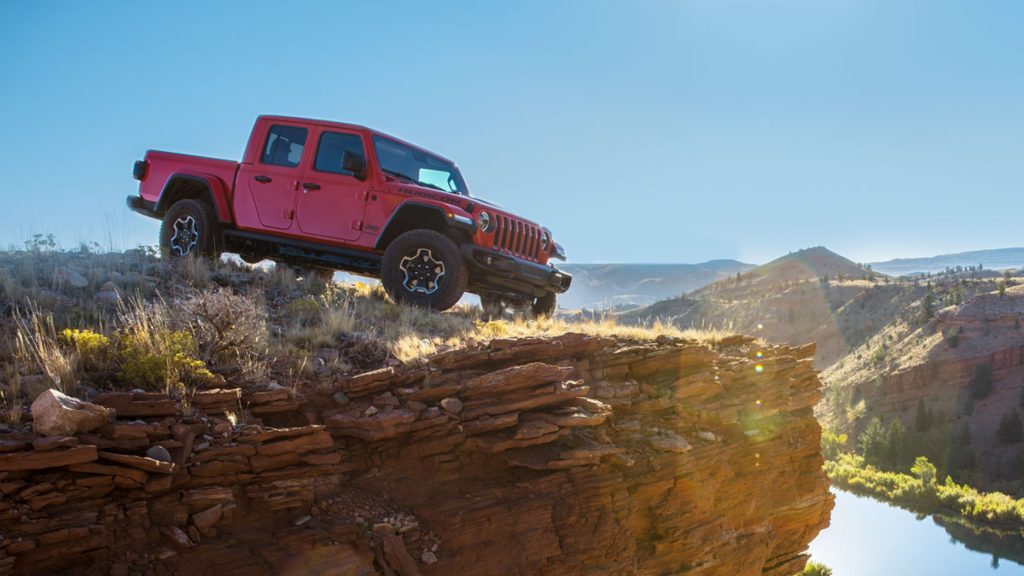 Red 2020 Jeep Gladiator perched overlooking a canyon