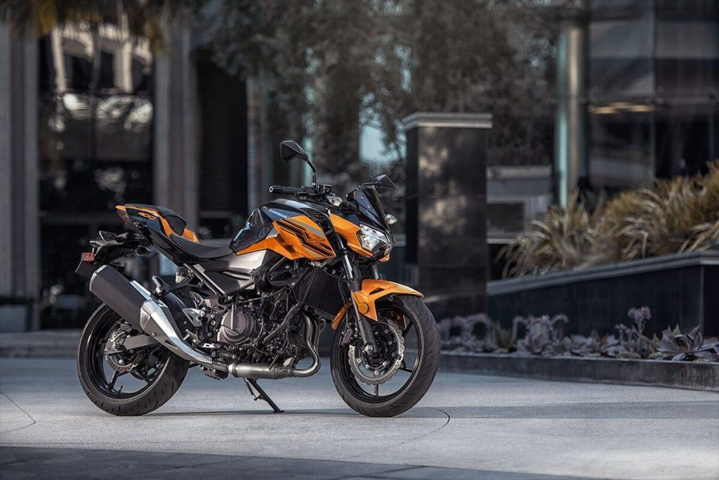 An orange 2020 Kawasaki Z400