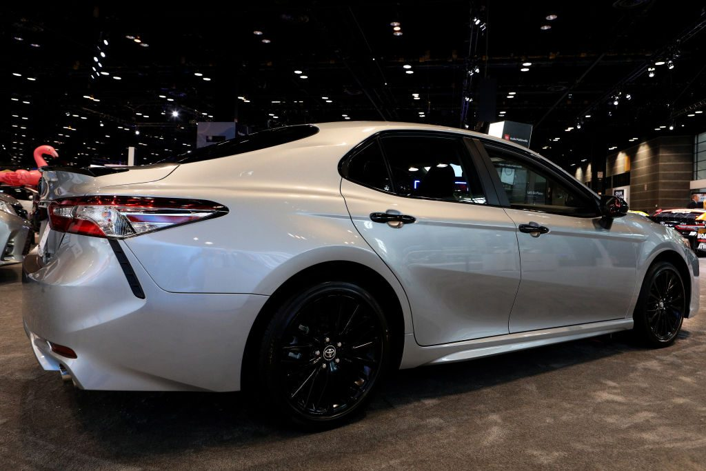 A 2020 Toyota Camry on display