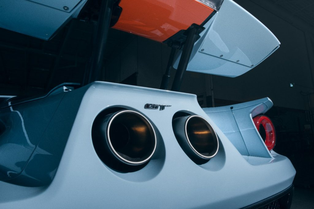 A close-up of the exhaust tips on a 2020 Ford GT.