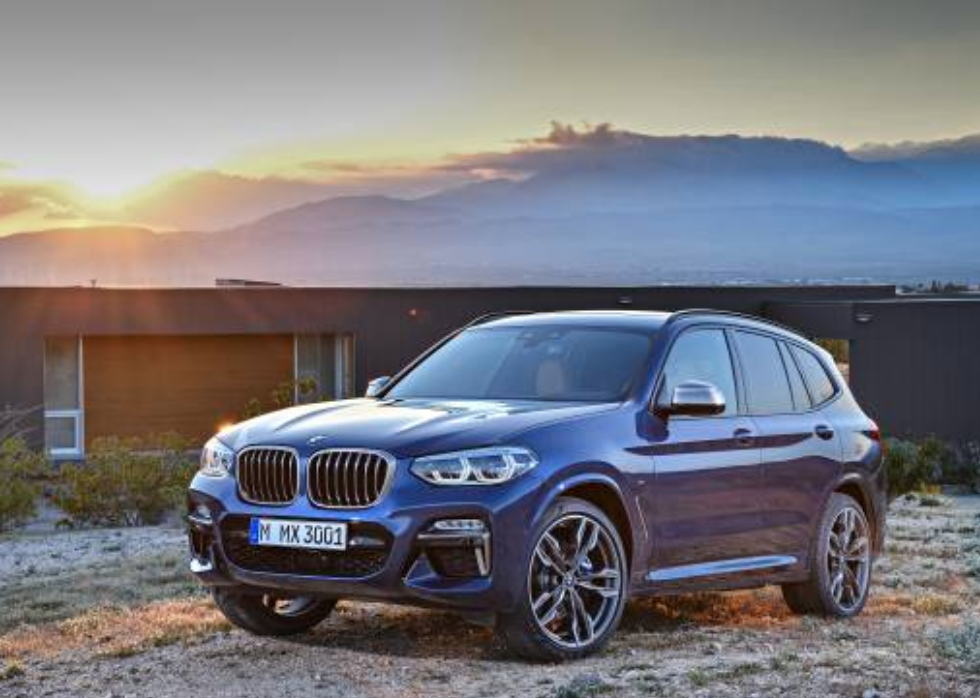 A blue 2021 BMW X3 at sunset.