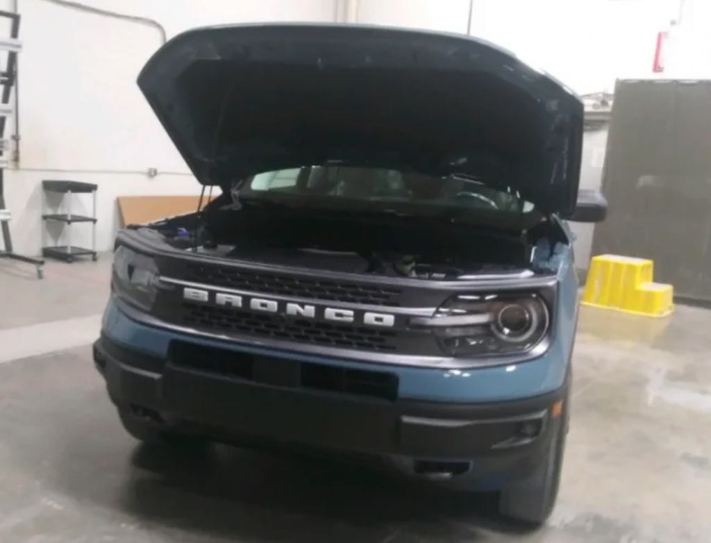 2021 Ford Bronco Sport with hood popped open