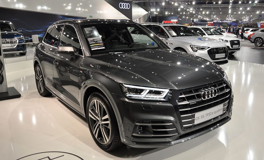 An Audi Q5 55 TFSIe Quattro is seen during the Vienna Car Show press preview