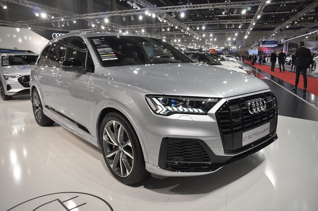 A Audi Q7 60 TFSIe Quattro is seen during the Vienna Car Show press preview at Messe Wien, as part of Vienna Holiday Fair