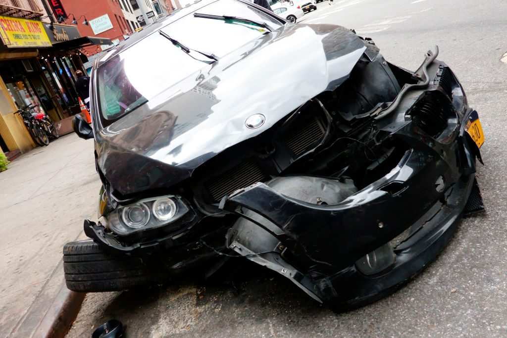 BMW destroyed in accident. (Photo by: Joan Slatkin/Education Images/Universal Images Group via Getty Images)