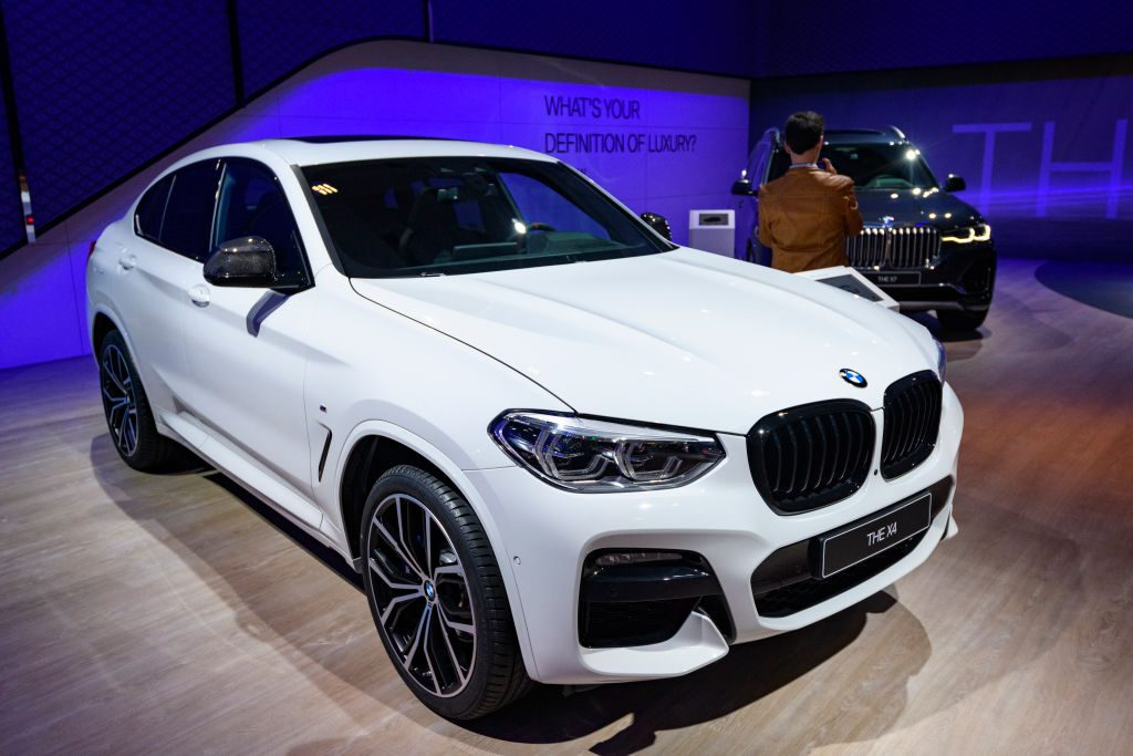 BMW X4 luxury crossover SUV on display at Brussels Expo