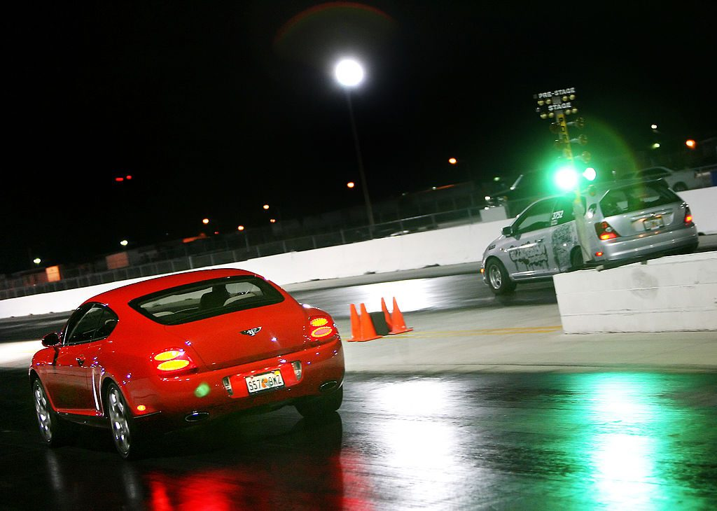 Bentley vs Honda at the drag strip