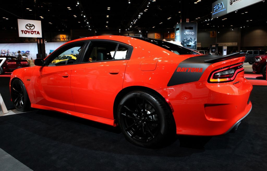 A new Dodge Charger Daytona on display at an auto show