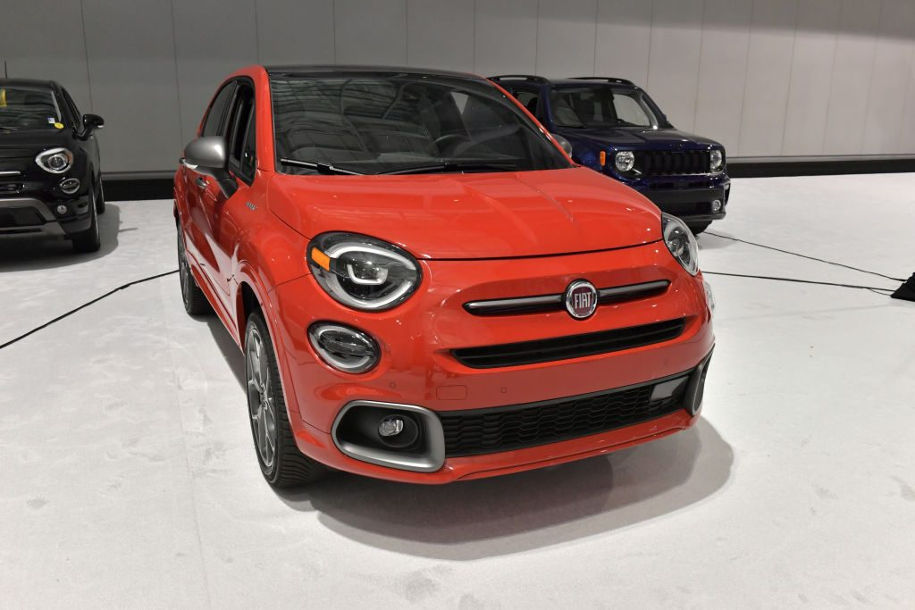 A Fiat 500X is seen at the 2020 New England Auto Show Press Preview at Boston Convention & Exhibition Center