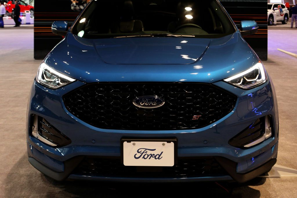 A new Ford Edge on display at an auto show