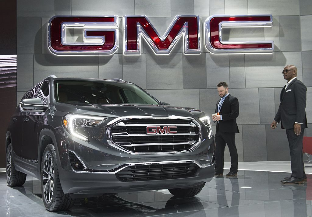 The 2018 GMC Terrain SUV is on display during the 2017 North American International Auto Show