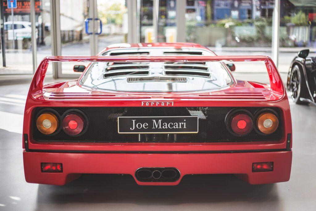 The rear of a 1988 red Ferrari F40.