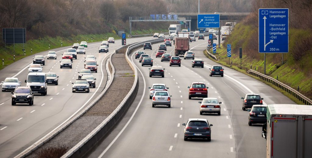A busy highway in Germany.