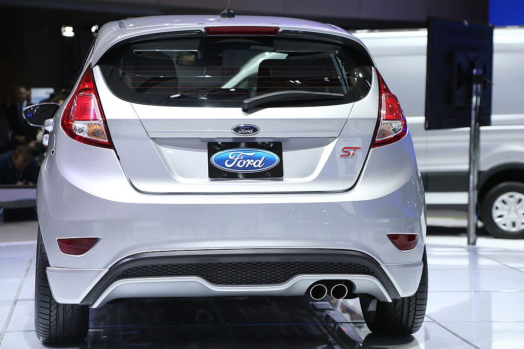 A silver Ford Fiesta ST displayed at an auto show.