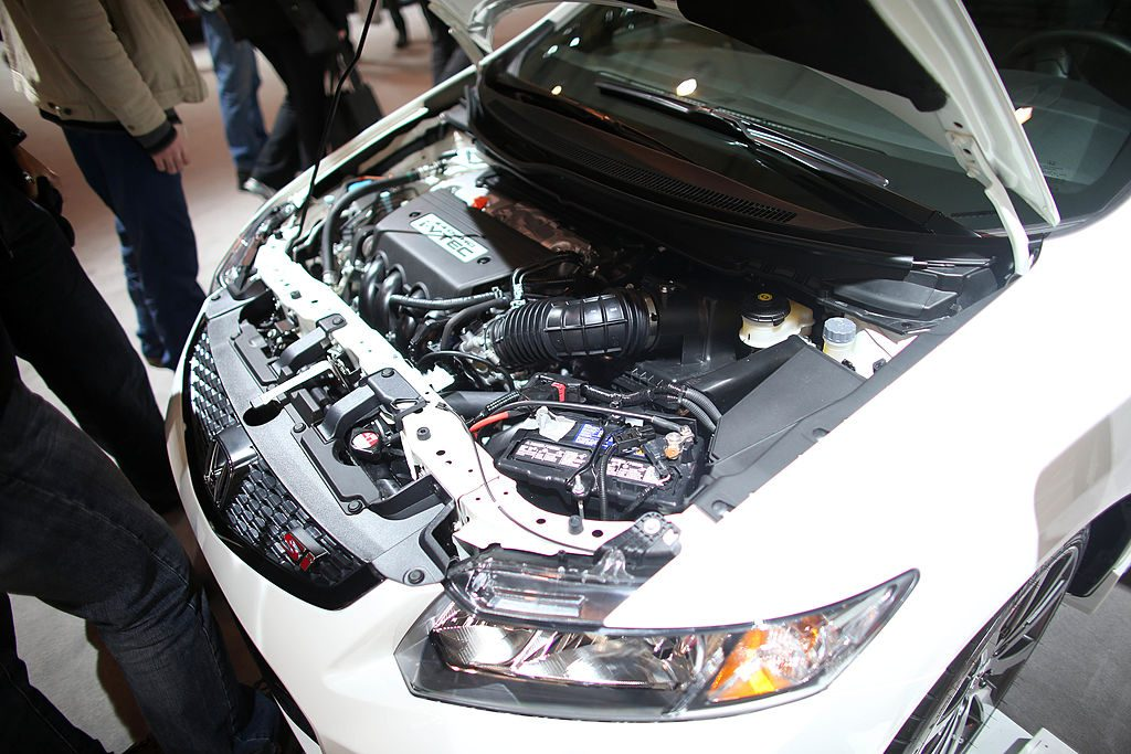 A close-up of the K24 engine in the 2013 Honda Civic Si.