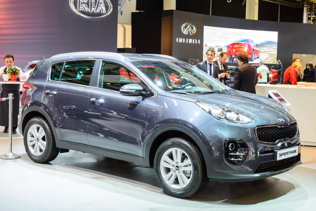 A new Kia Sportage on display at an auto show
