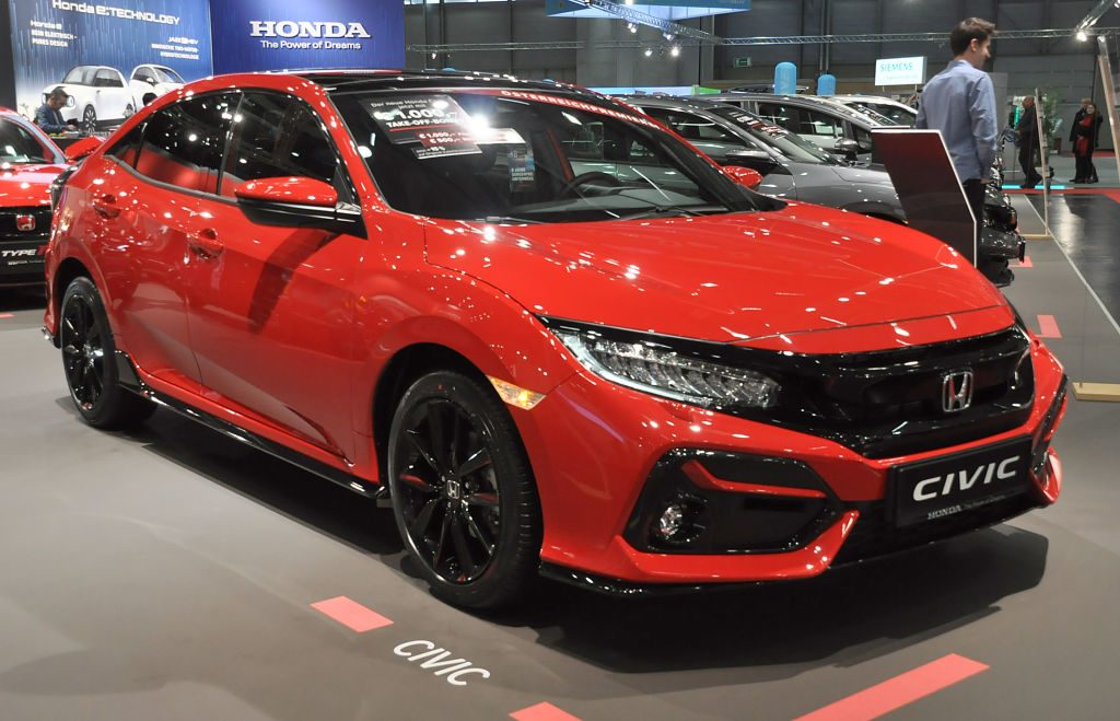 A Honda Civic is seen during the Vienna Car Show press preview