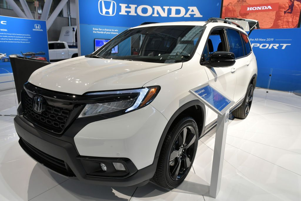 Carl Pulley of Honda introduces the 2019 Honda Passport at the 2019 New England International Auto Show Press Preview at Boston Convention & Exhibition Center