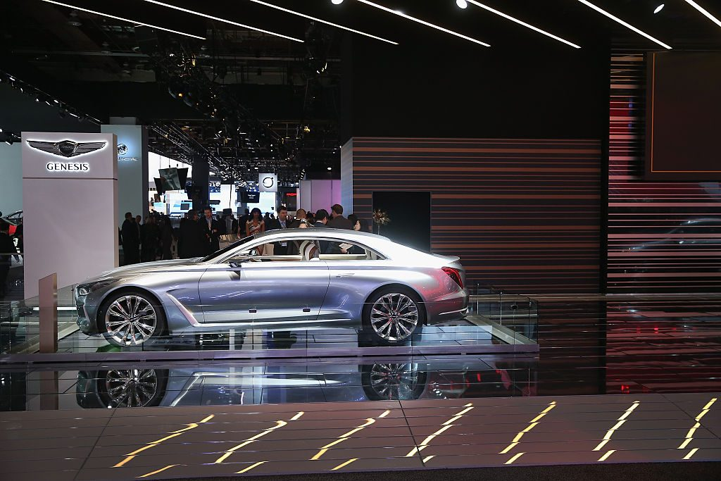 Genesis displays a Vision G Coupe concept at the North American International Auto Show