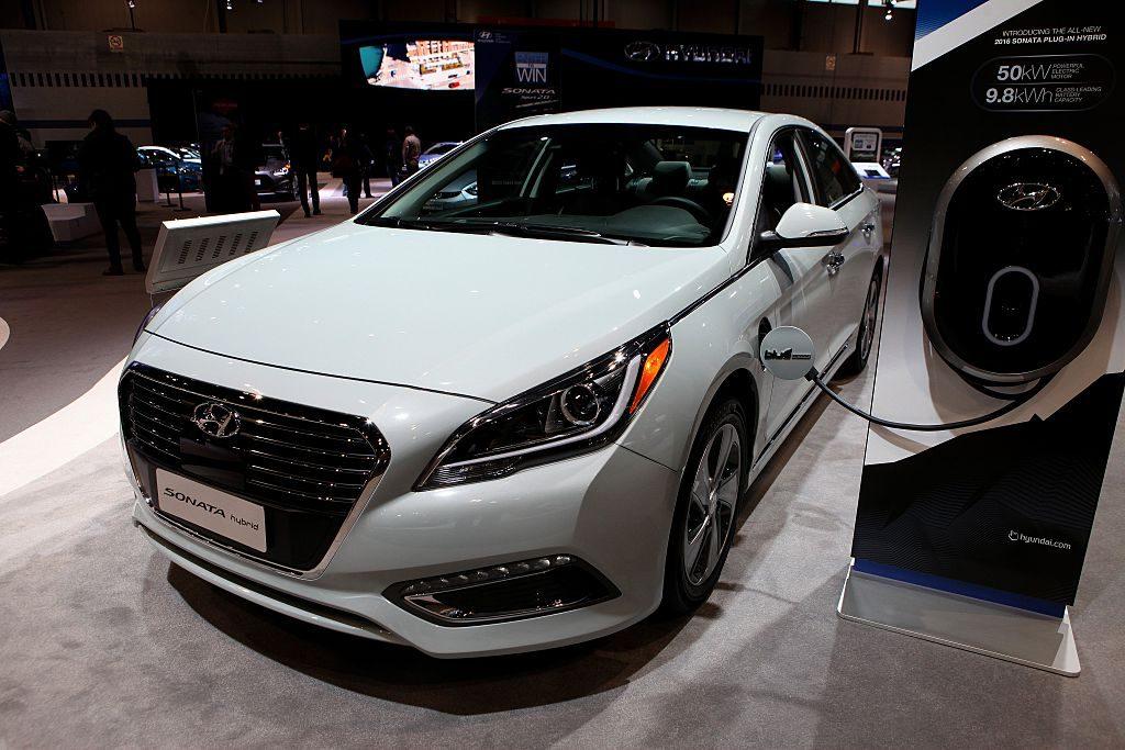 A Hyundai Sonata seen at an auto show