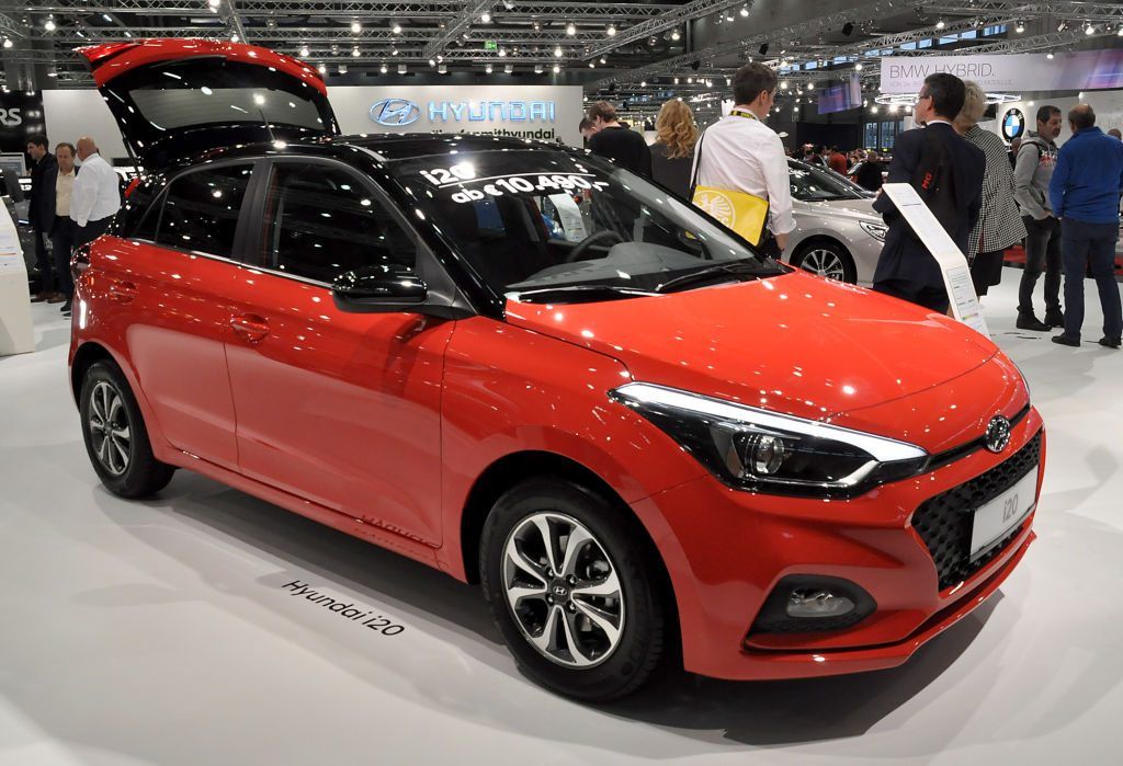 A Hyundai i20 is seen during the Vienna Car Show press preview at Messe Wien, as part of Vienna Holiday Fair