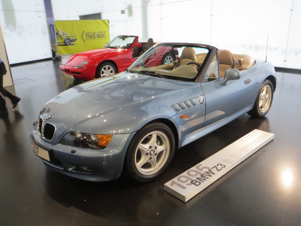 A pewter blue 1995 BMW Z3 roadster displayed at the BMW Museum in Munich, Germany.