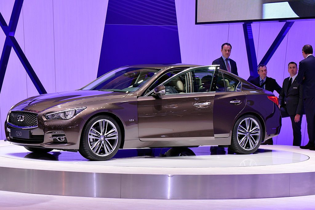 A Infiniti Q50 is seen during the 83rd Geneva Motor Show on March 6, 2013 in Geneva, Switzerland