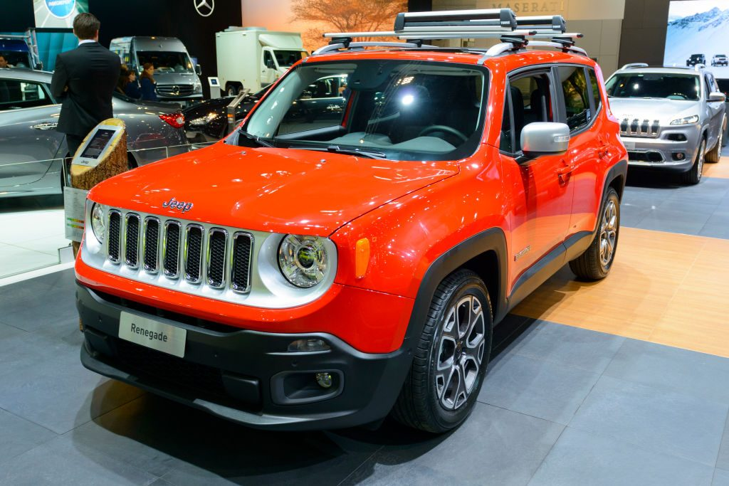 A red Jeep Renegade on display