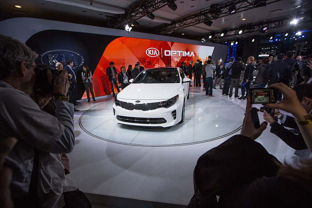 The new Kia Optima is displayed at the New York International Auto Show at the Javits Center