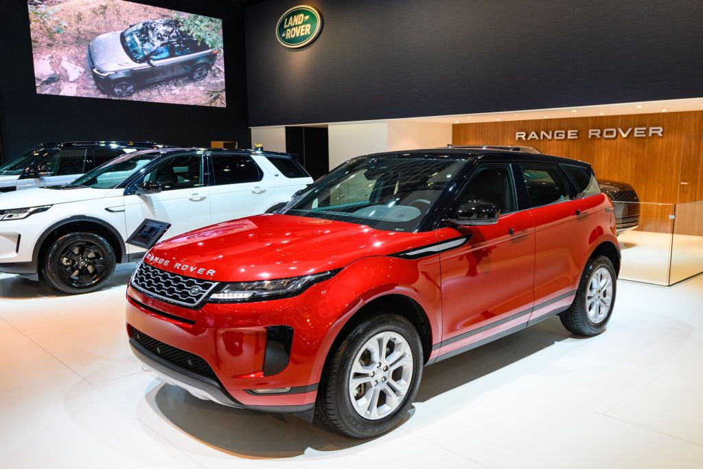 Range Rover Evoque P200 S crossover SUV on display at Brussels Expo