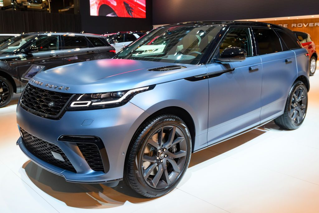 Range Rover Velar SVAutobiography Dynamic Edition P550 crossover luxury SUV on display at Brussels Expo