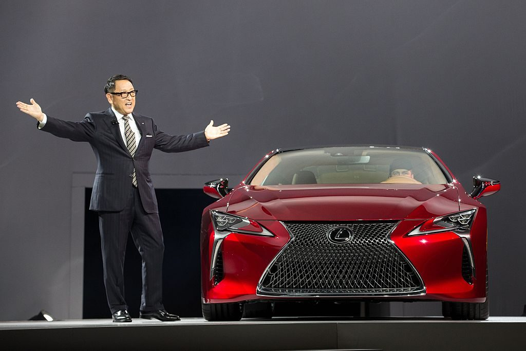 A Lexus LC500 on display at an auto show