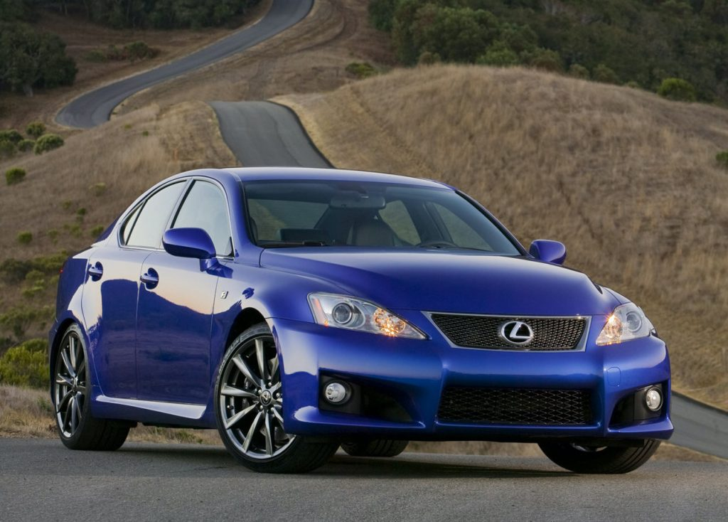 Blue 2008 Lexus IS-F on a racetrack
