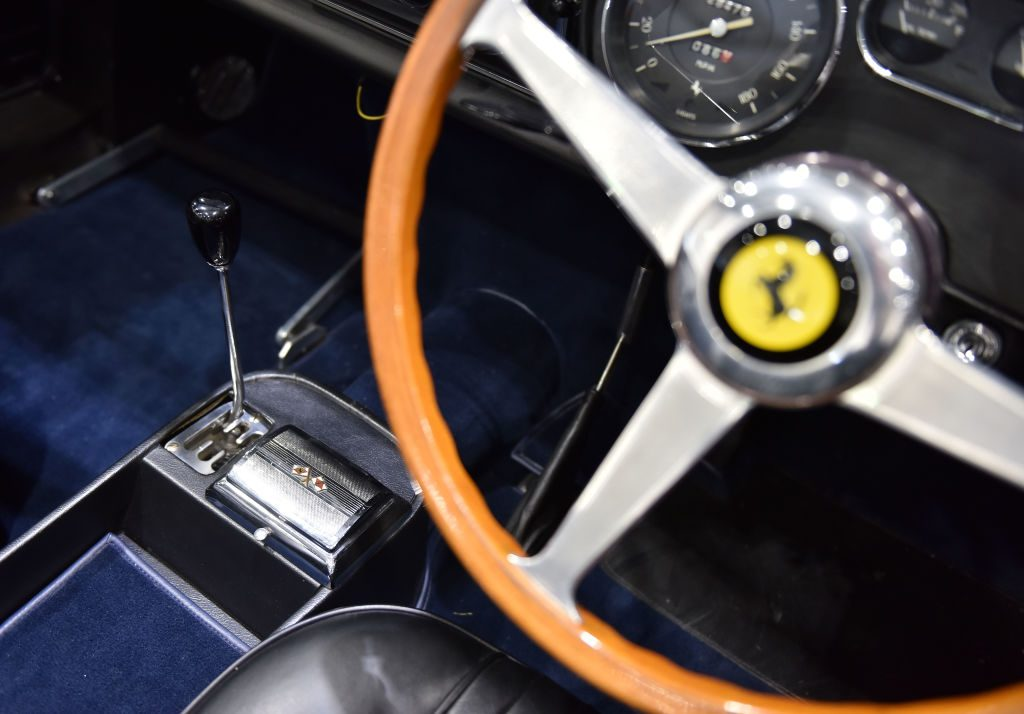 A Ferrari interior on display at London Classic Car Show at ExCel on February 23, 2017 in London, England