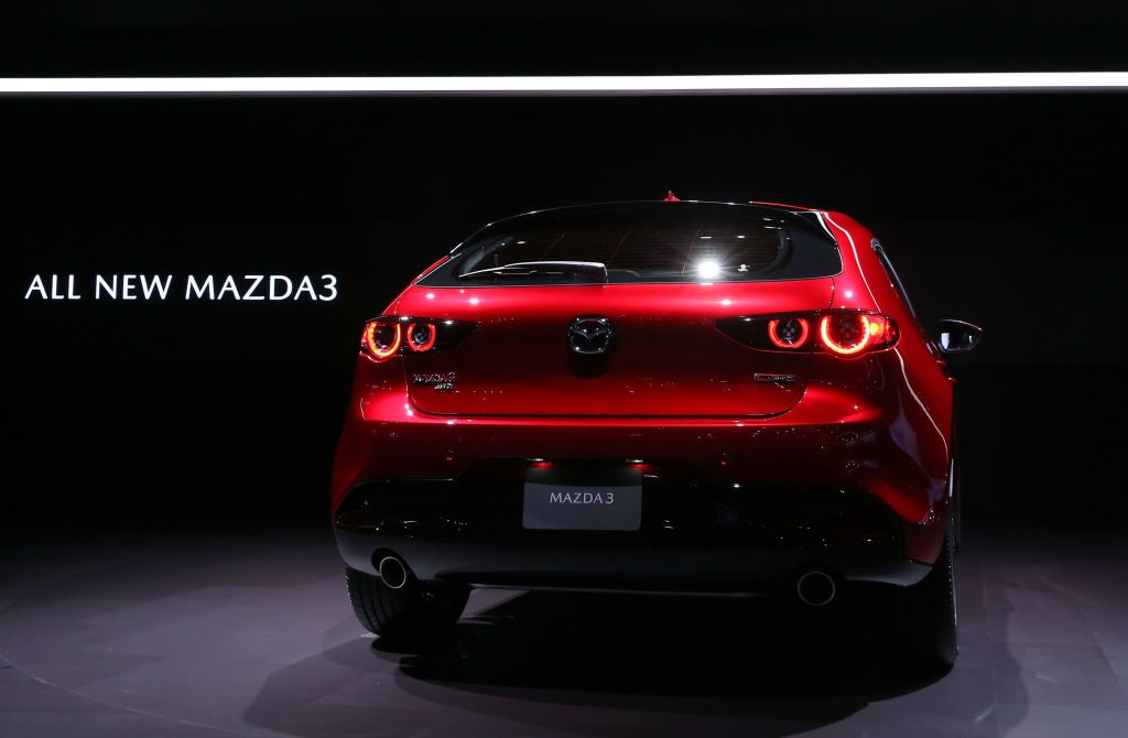 A general view of the Mazda3 is seen onstage during the L.A. Auto Show