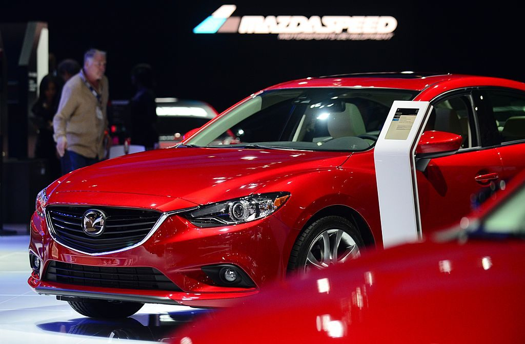 The 2015 Mazda6 is displayed on November 20, 2013 during media previews at the LA Auto Show