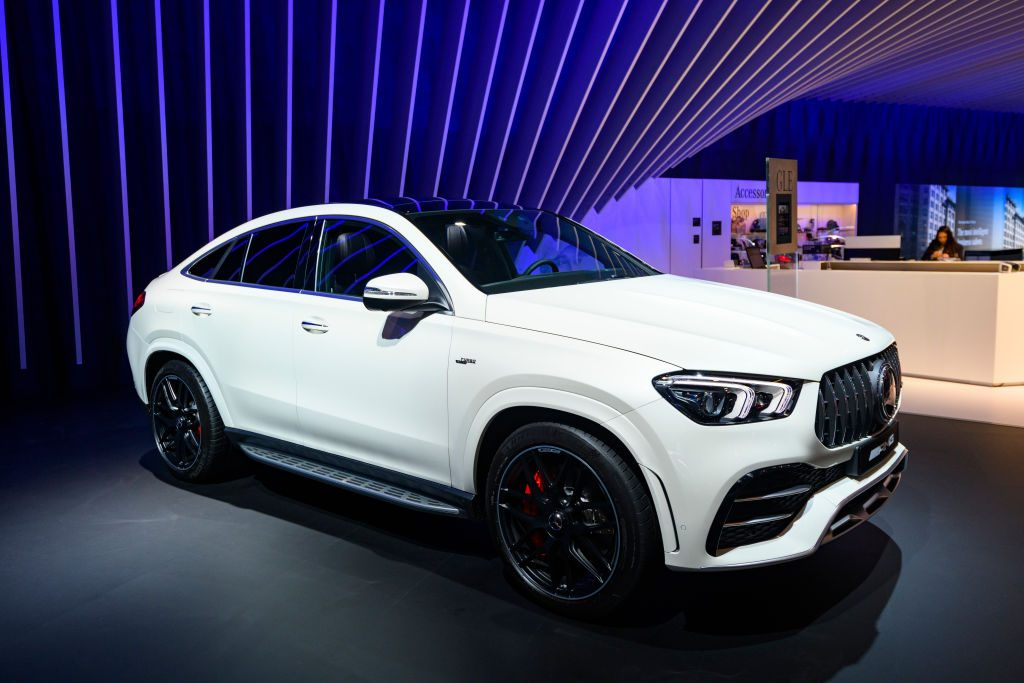 Mercedes-AMG GLE 63 S Coupé GLE Class luxury crossover SUV car on display at Brussels Expo