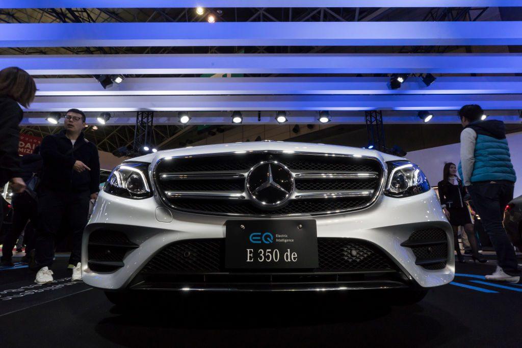 Mercedes-Benz E350 de is displayed at the Tokyo Auto Salon 2020