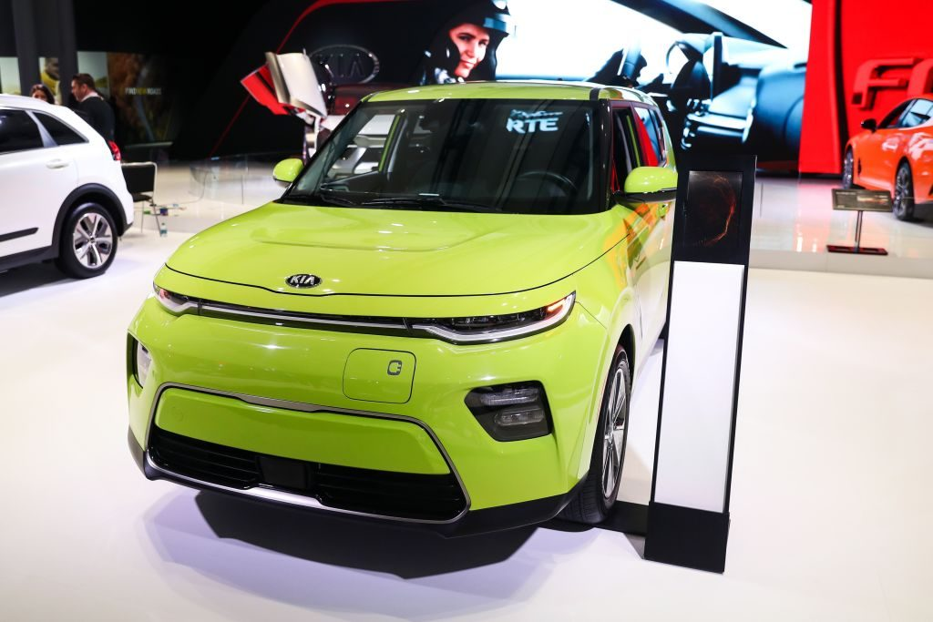 A 2020 Kia Soul EV on display at an auto show
